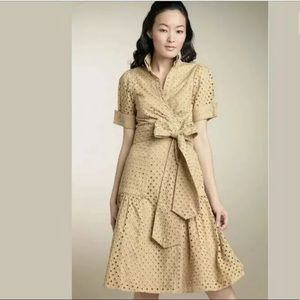 DVF Wrap Dress Bellette Tan Khaki Eyelet Midi
